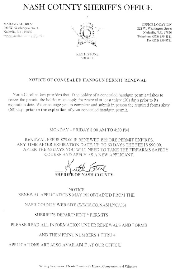 How to renew your nc concealed handgun permit concealedcarolina below is a letter from our nash co sheriff regarding renewal of your concealed handgun permit thecheapjerseys Image collections